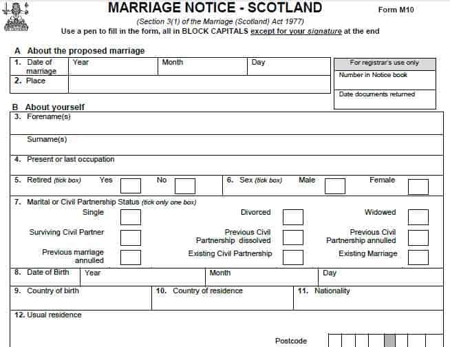M10 marriage Notice Scotland